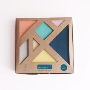 tangram de madera colores pastel